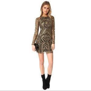 Parker Black Isabelle Mesh Gold Sequins Mini Dress